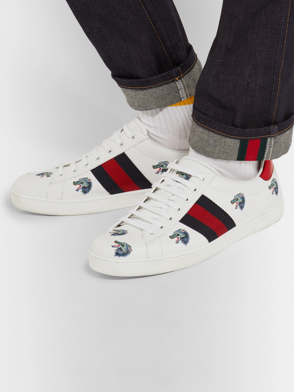 Gucci Sneakers ACE PRINTED LEATHER SNEAKERS