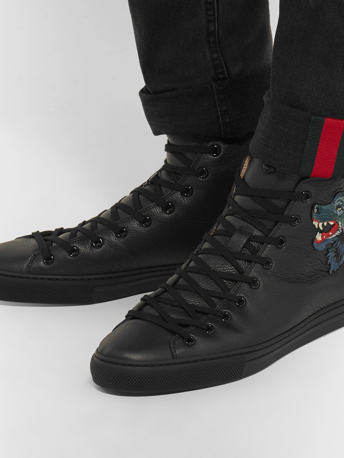 Gucci Sneakers MAJOR WOLF-APPLIQUÉD FULL-GRAIN LEATHER HIGH-TOP SNEAKERS