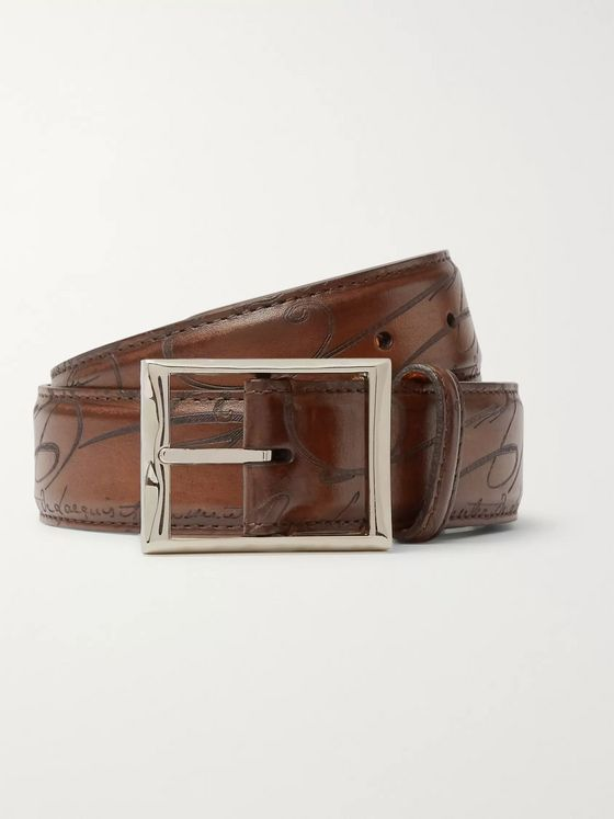 Berluti 3.5cm Brown Scritto Leather Belt