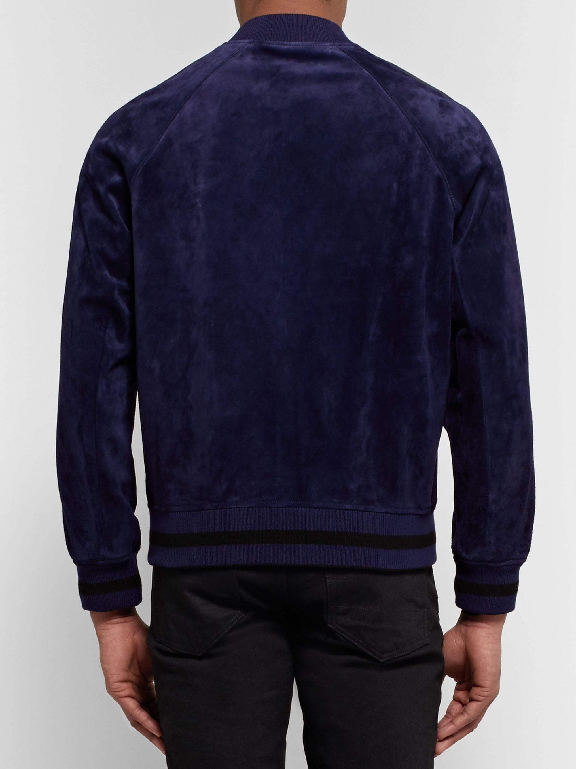 Berluti Reversible Leather-Trimmed Suede and Jacquard Bomber Jacket