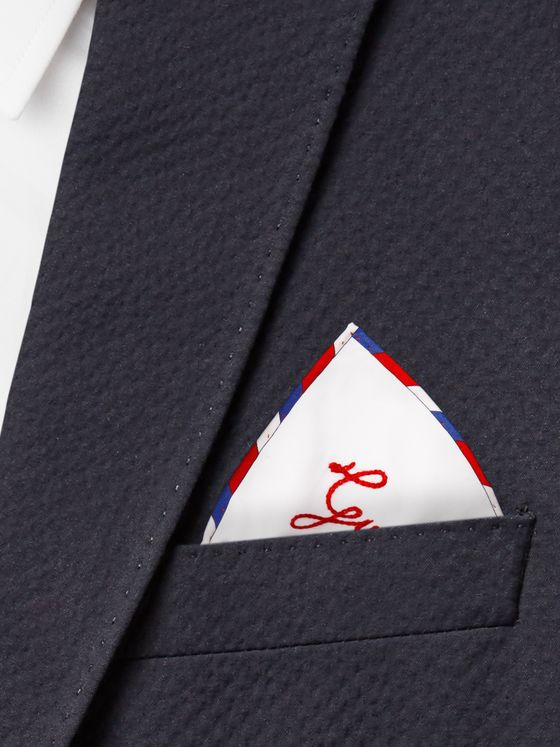 GUCCI Stripe-Trimmed Cotton Pocket Square