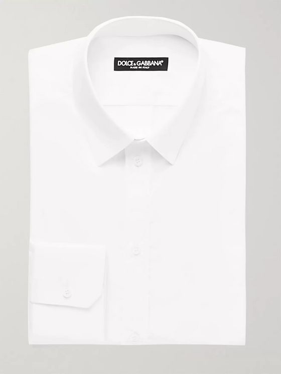 Dolce & Gabbana White Slim-Fit Cotton-Poplin Shirt