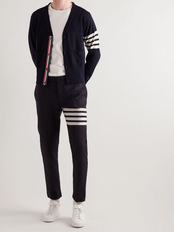 THOM BROWNE Slim-Fit Striped Grosgrain-Trimmed Mélange Cashmere Cardigan