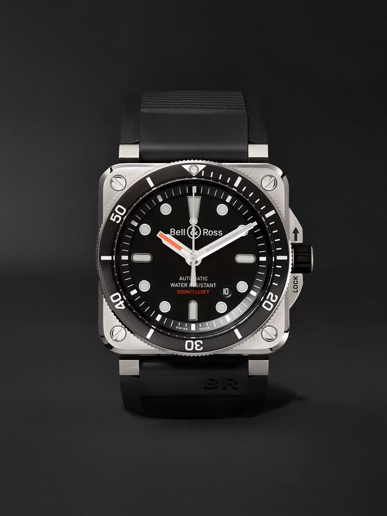 BELL & ROSS BR 03-92 Diver Automatic 42mm Stainless Steel and Rubber Watch, Ref. No. BR0392-­D-­BL-­ST/SRB
