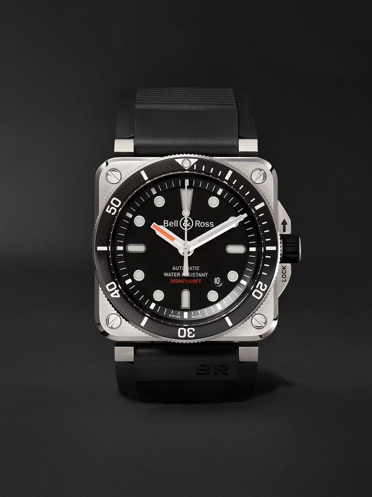 Bell & Ross BR 03-92 Diver Type 42mm Stainless Steel and Rubber Watch, Ref. No. BR0392-­‐D-­‐BL-­‐ST/SRB