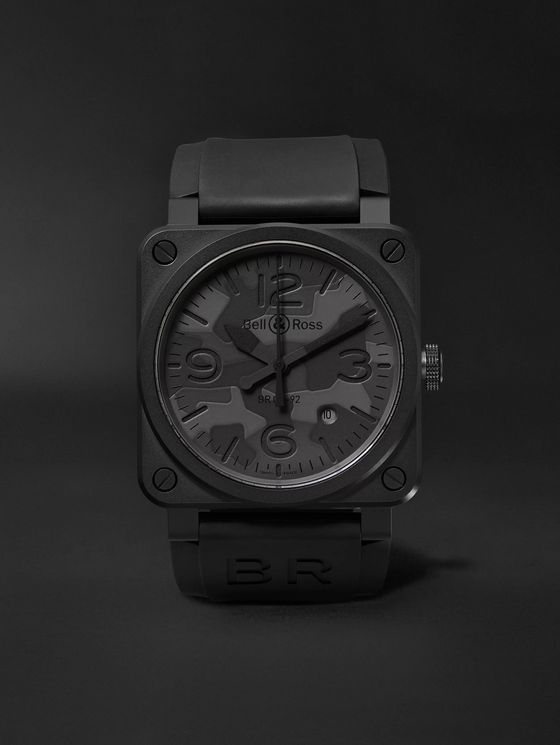BELL & ROSS BR 03-92 Black Camo Automatic 42mm Ceramic and Rubber Watch, Ref. No. BR0392-­CAMO-­CE/SRB