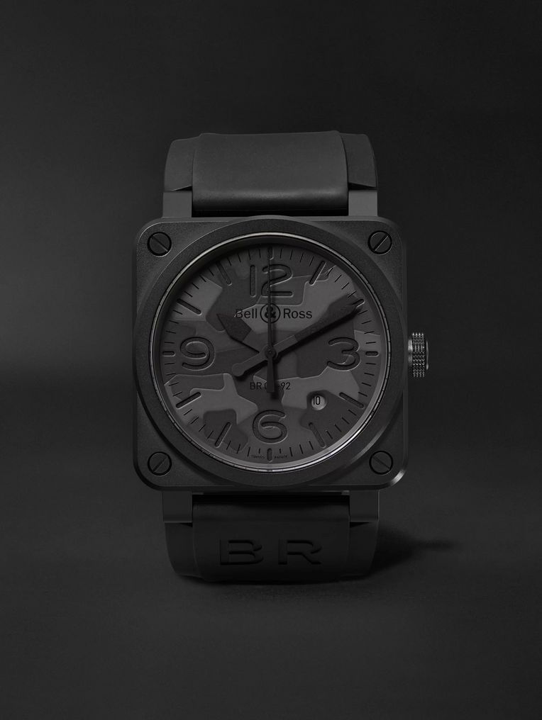 Bell & Ross BR 03-92 Black Camo 42mm Ceramic and Rubber Watch, Ref. No. BR0392-­‐CAMO-­‐CE/SRB