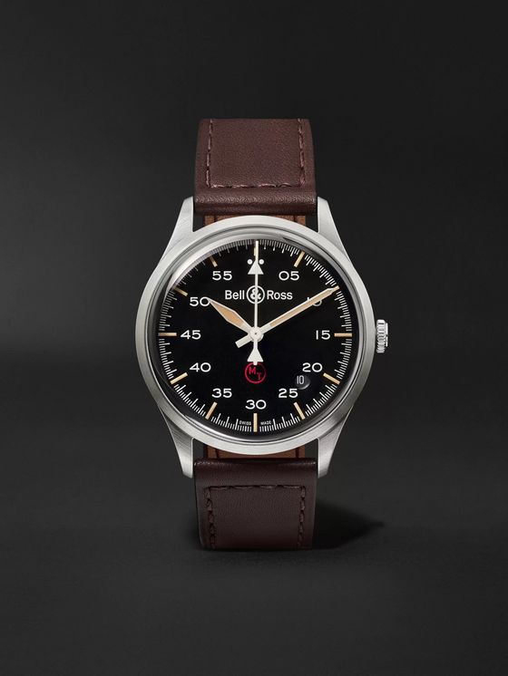 Bell & Ross BR V1-92 Military Automatic 38.5mm Stainless Steel and Leather Watch, Ref. No. BRV192-­‐MIL-­‐ST/SCA