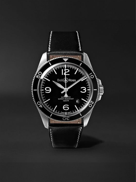 BELL & ROSS BR V2-92 Automatic 41mm Stainless Steel and Leather Watch, Ref. No. BRV292-­‐BL-­‐ST/SCA