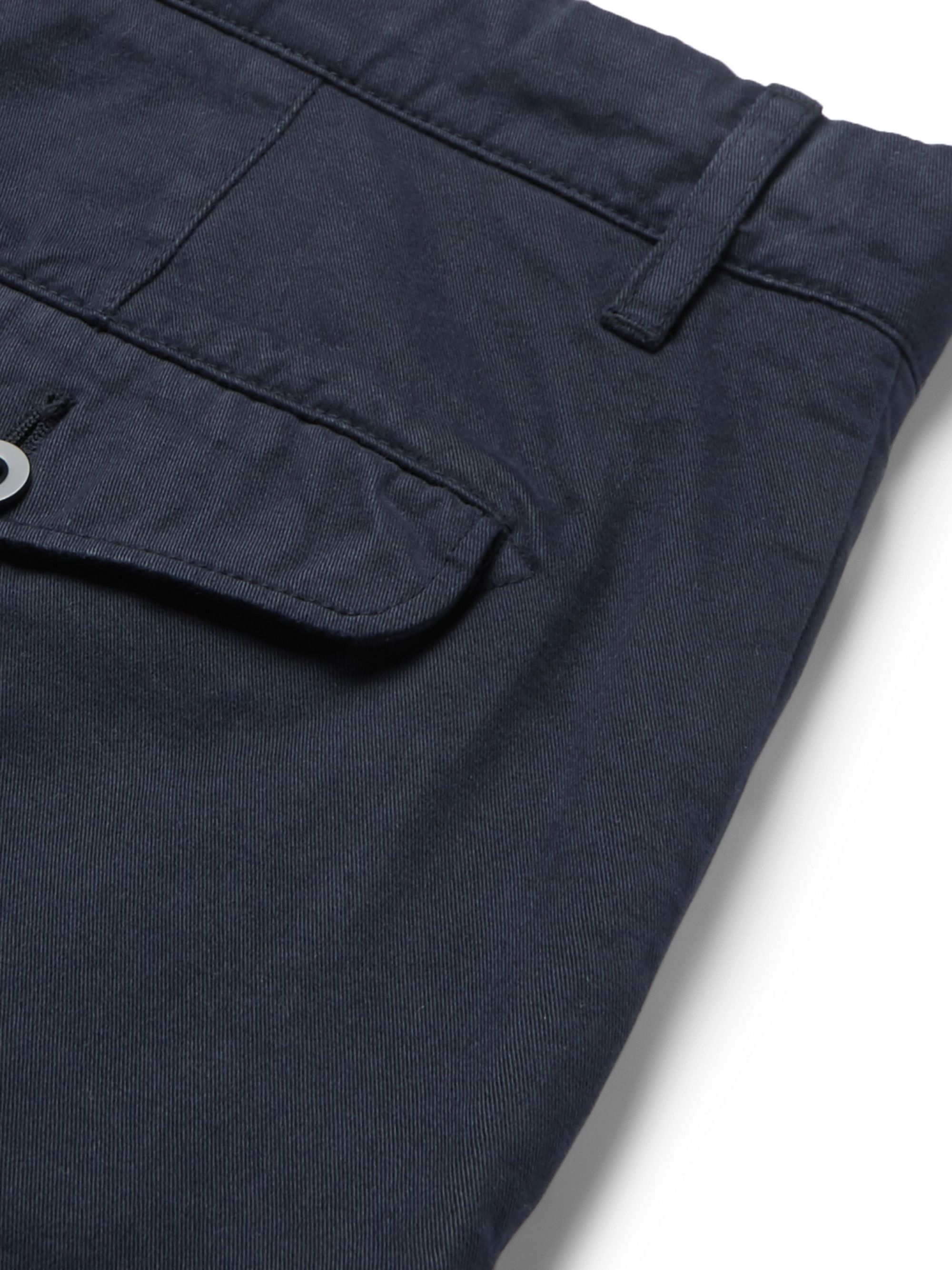 Mr P. Straight-Leg Grey Garment-Dyed Cotton-Twill Chinos