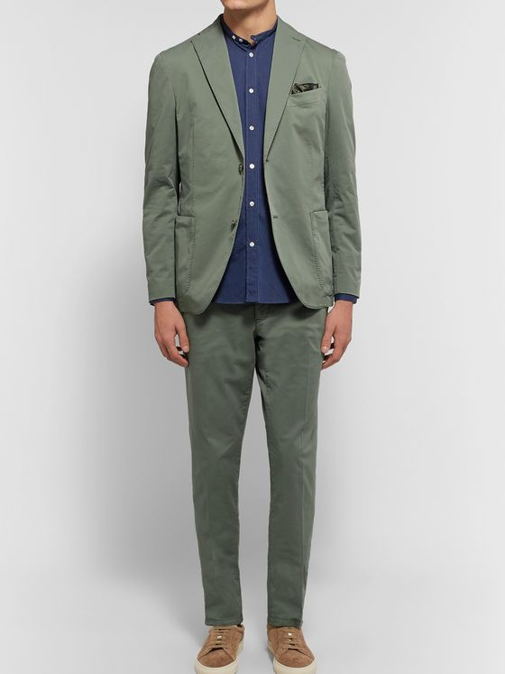 Boglioli Army-Green Slim-Fit Stretch-Cotton Twill Suit Trousers