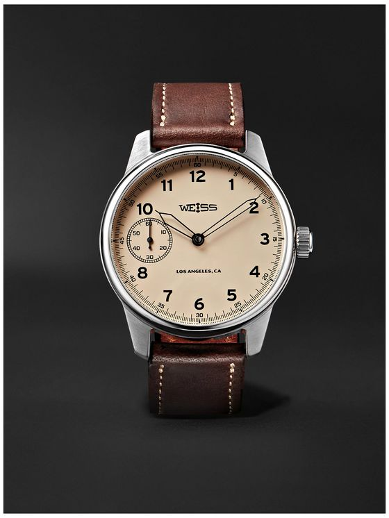 Weiss Special Issue Hand-Wound 42mm Stainless Steel and Leather Field Watch