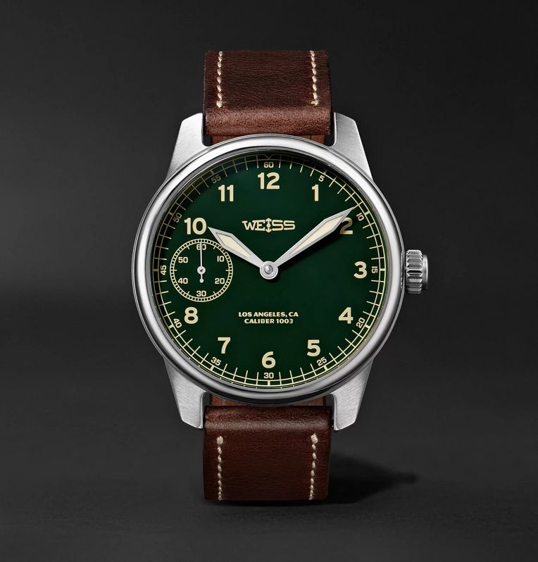Weiss American Issue 42mm Stainless Steel and Leather Field Watch