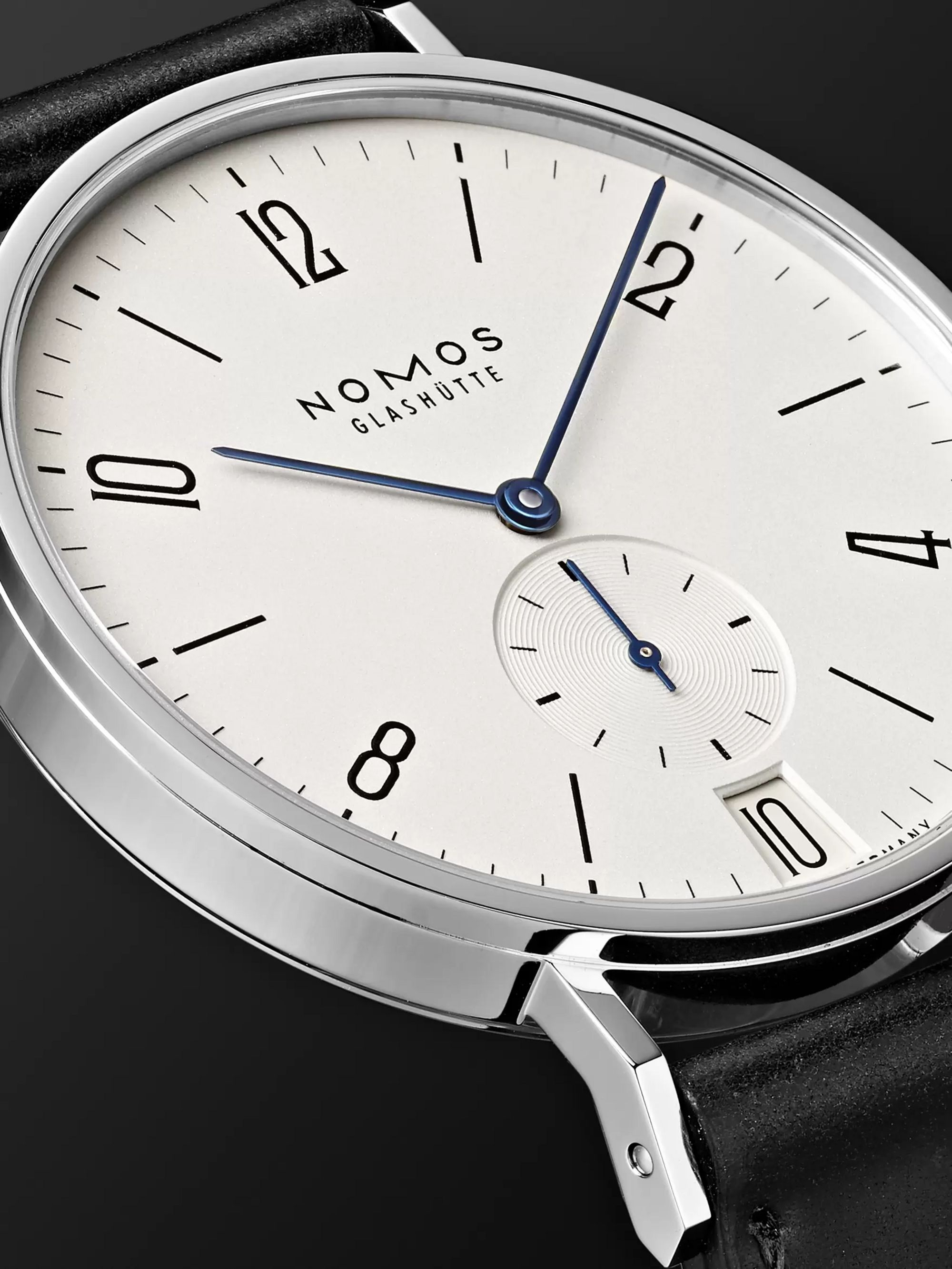 NOMOS Glashütte Tangente 38mm Datum Stainless Steel and Leather Watch, Ref. No. 130
