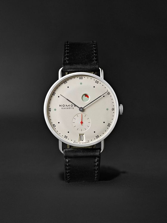 NOMOS GLASHÜTTE Metro Datum Gangreserve 37mm Stainless Steel and Leather Watch, Ref. No. 1101