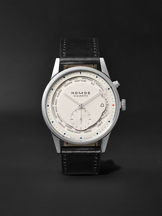 NOMOS Glashütte Zurich Weltzeit Automatic 40mm Stainless Steel and Cordovan Leather Watch, Ref. No. 805