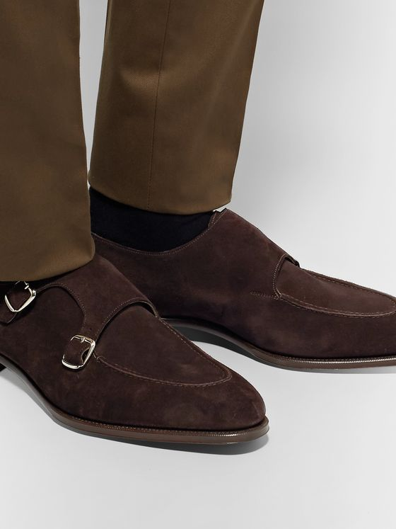 Edward Green Fulham Suede Monk-Strap Shoes