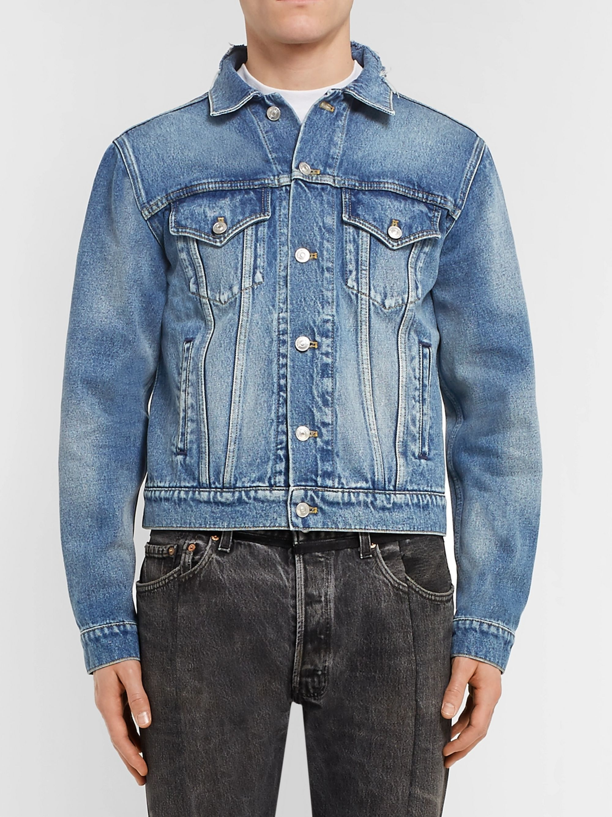 Balenciaga Cropped Embroidered Distressed Denim Jacket