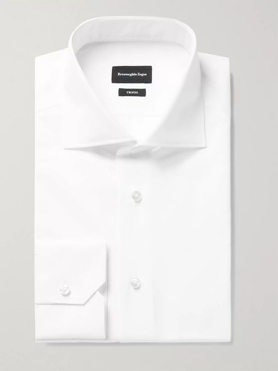 ERMENEGILDO ZEGNA Trofeo Slim-Fit Cutaway-Collar Cotton-Poplin Shirt