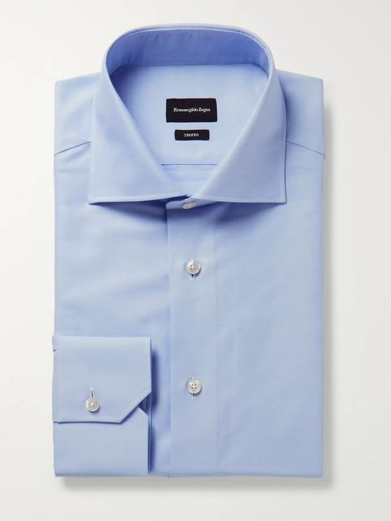 ERMENEGILDO ZEGNA Light-Blue Trofeo Slim-Fit Cutaway-Collar Cotton-Poplin Shirt