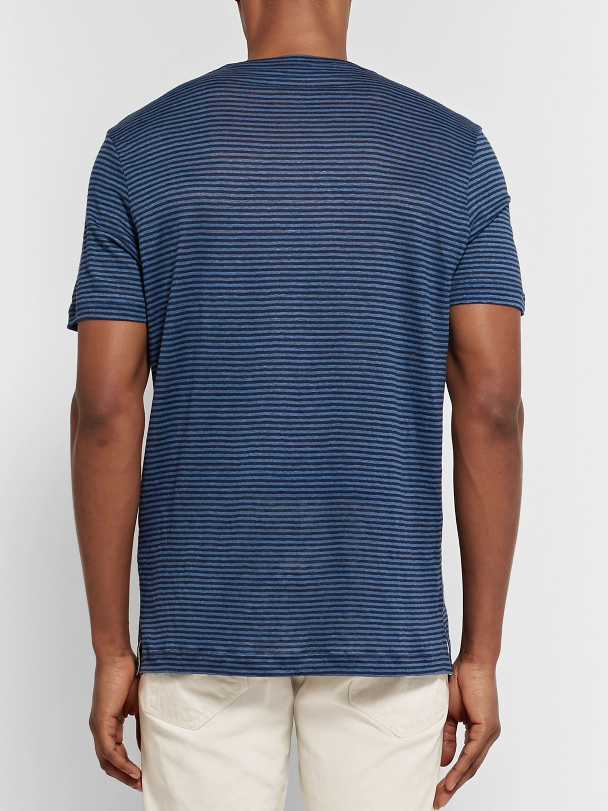 LORO PIANA Striped Linen T-Shirt