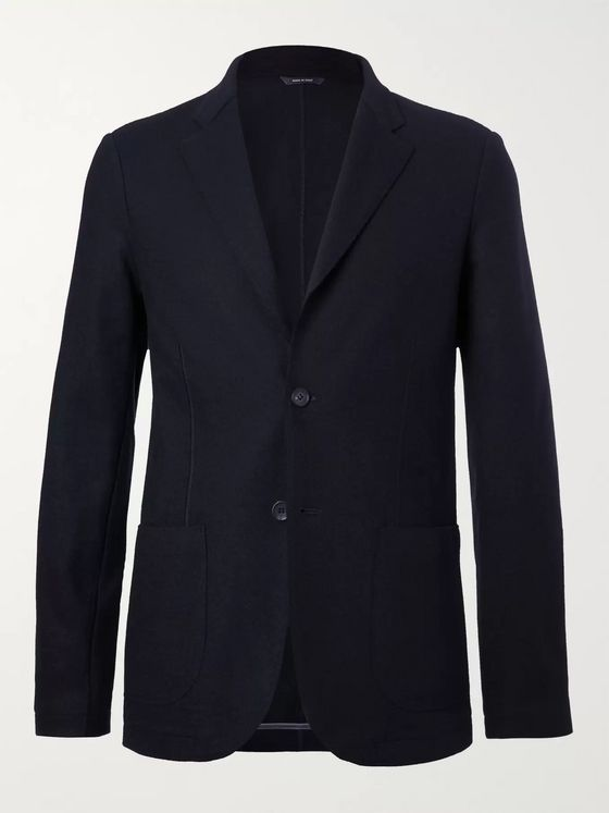 LORO PIANA Navy Unstructured Cashmere and Virgin Wool Blazer