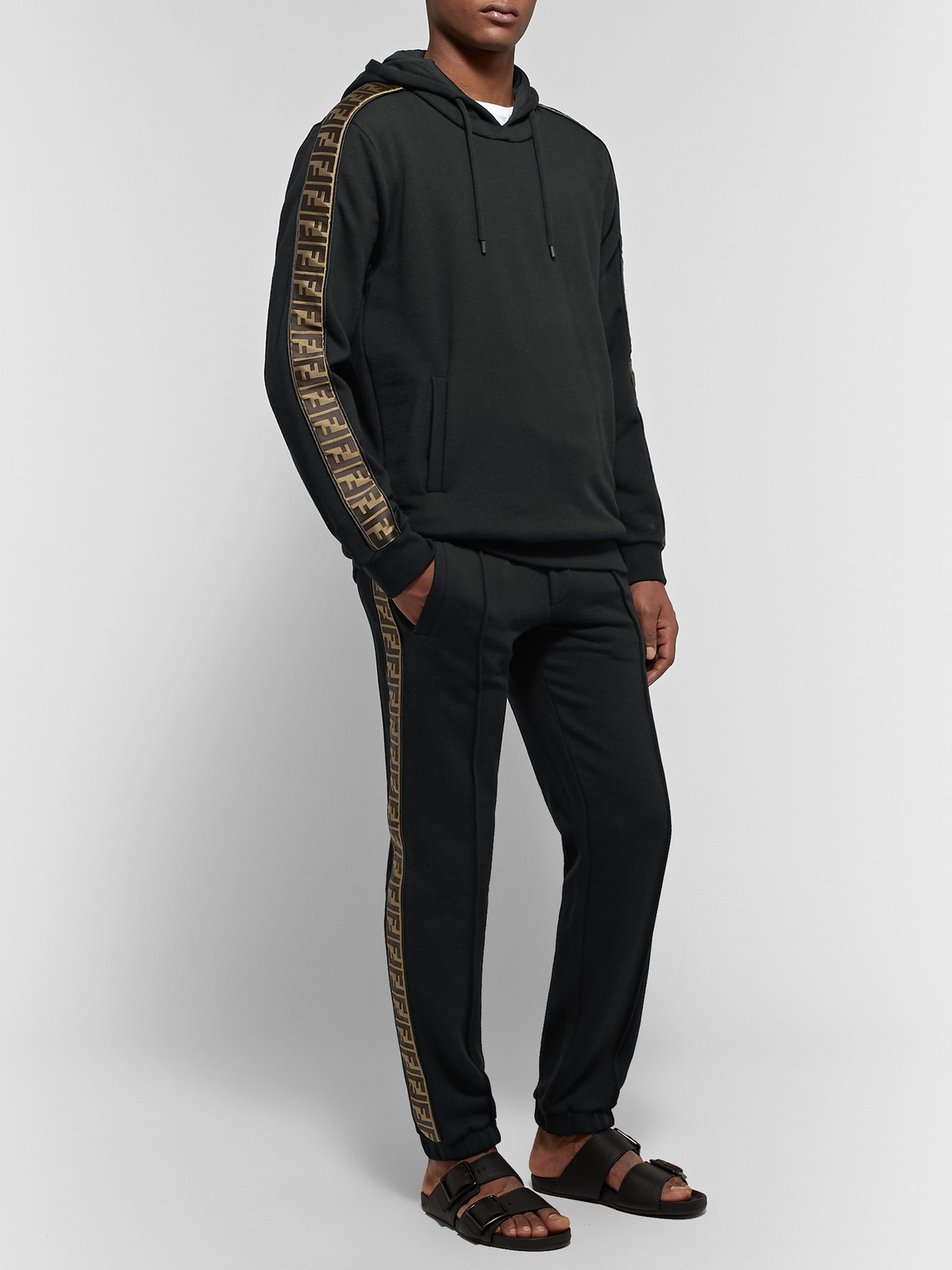 Fendi Pants SLIM-FIT TAPERED LOGO-TRIMMED COTTON, WOOL, SILK AND CASHMERE-BLEND TRACK PANTS