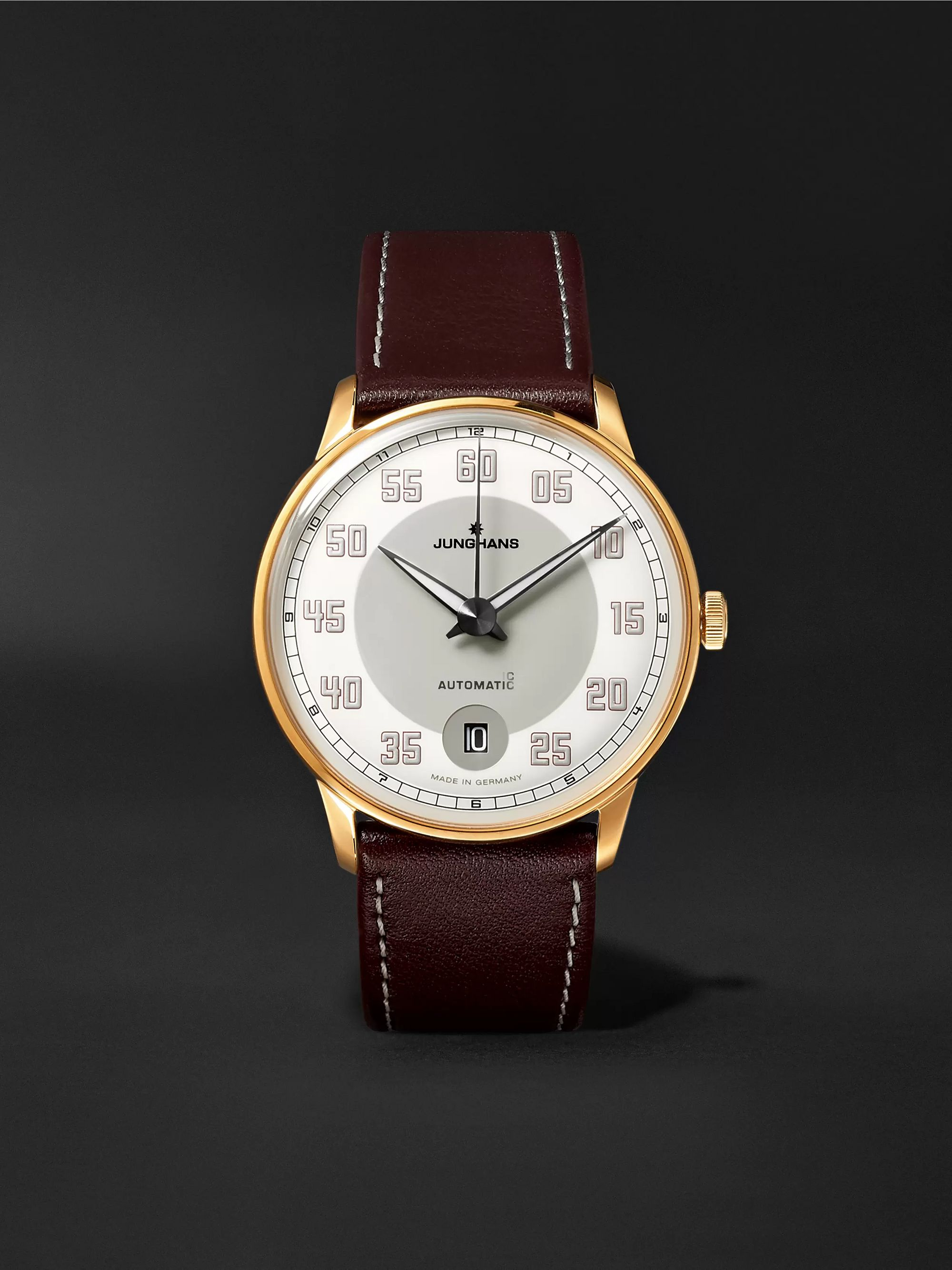 Junghans Meister Driver Automatic 38mm Gold-Tone Stainless Steel and Leather Watch, Ref. No. 027/7710.00