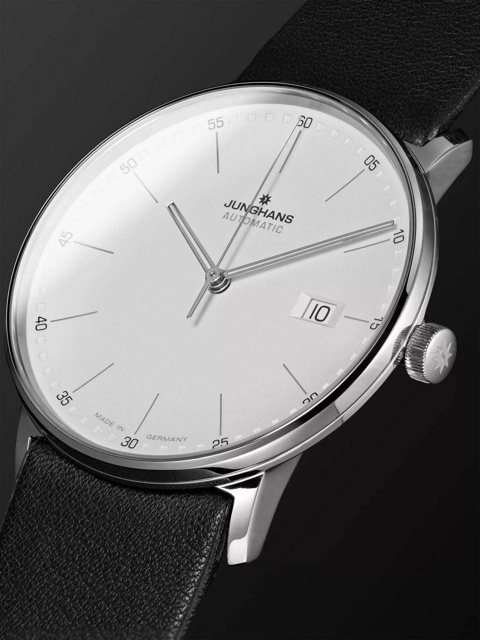 Junghans Form A 40mm Automatic Stainless Steel and Leather Watch