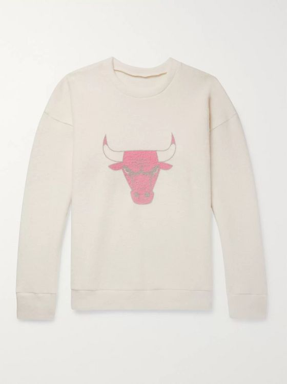 The Elder Statesman + NBA Chicago Bulls Printed Brushed Cashmere-Blend Sweatshirt