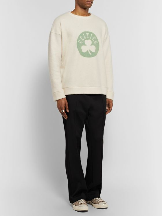 The Elder Statesman + NBA Boston Celtics Printed Brushed-Cashmere-Blend Sweatshirt
