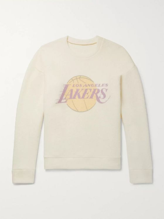The Elder Statesman + NBA Los Angeles Lakers Printed Brushed-Cashmere Sweatshirt