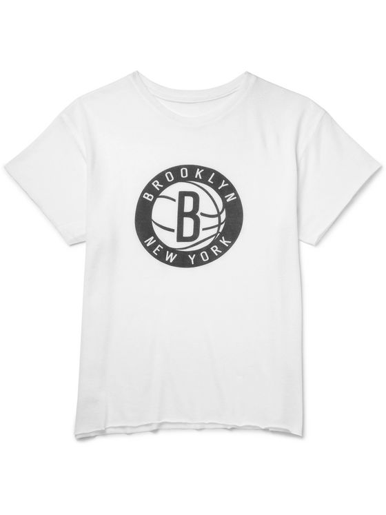 The Elder Statesman + NBA Brooklyn Nets Cashmere and Silk-Blend T-Shirt