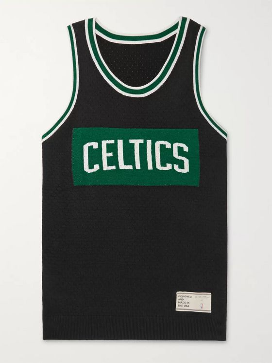 The Elder Statesman + NBA Celtics Intarsia Cashmere and Silk-Blend Tank Top
