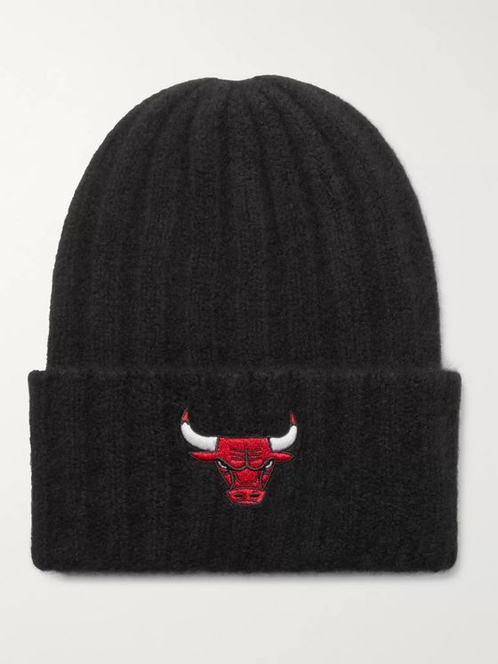 The Elder Statesman + NBA Chicago Bulls Appliquéd Ribbed Cashmere Beanie