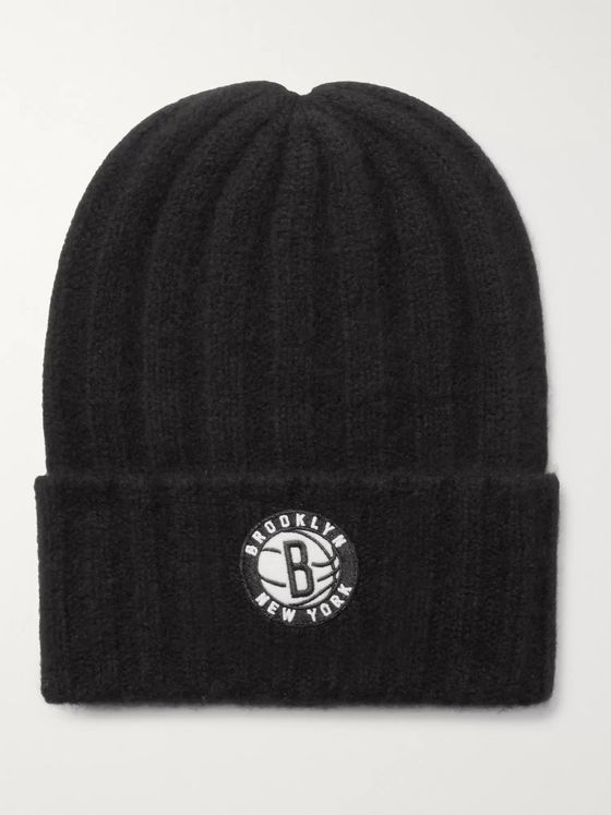 The Elder Statesman + NBA Brooklyn Nets Appliquéd Cashmere Beanie