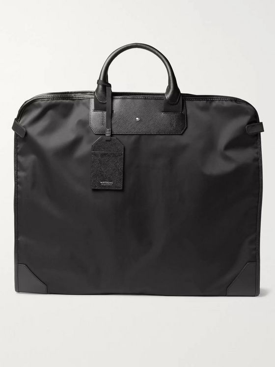 MONTBLANC Sartorial Cross-Grain Leather-Trimmed Shell Garment Bag
