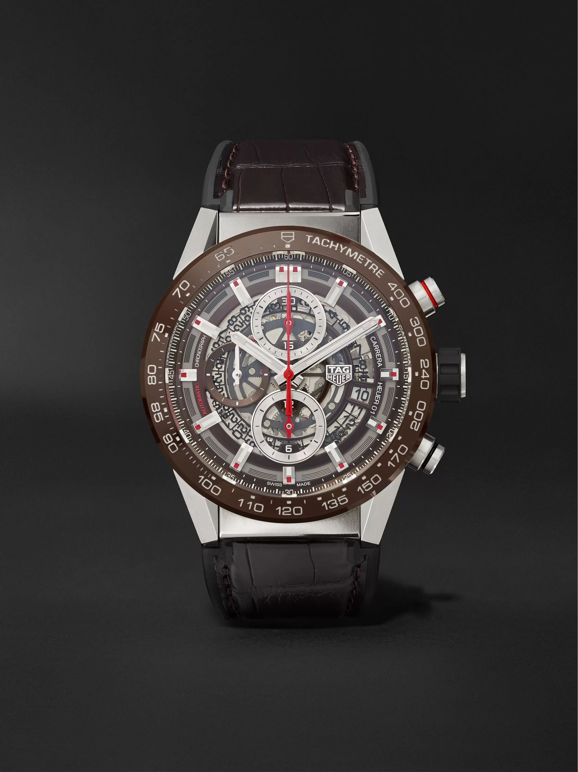 TAG Heuer Carrera Automatic Chronograph 43mm Stainless Steel, Ceramic and Alligator Watch, Ref. No. CAR201U.FC6405