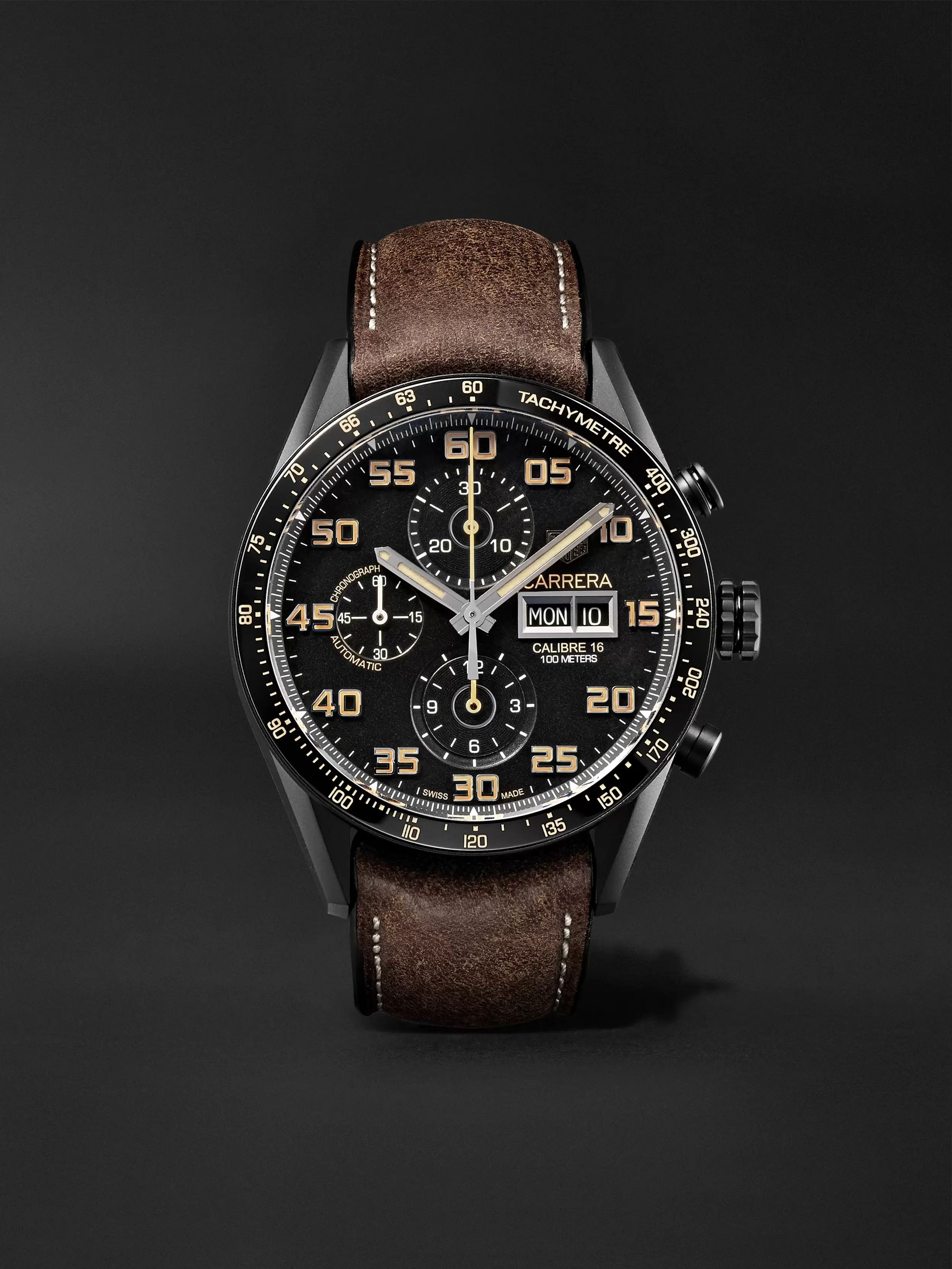 Tag Carrera Watch >> Carrera Automatic Chronograph 45mm Titanium And Leather Watch Ref No Cv2a84 Fc6394