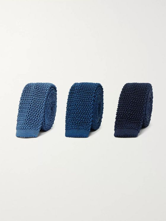 Charvet Set of Three 4.5cm Knitted Silk Ties