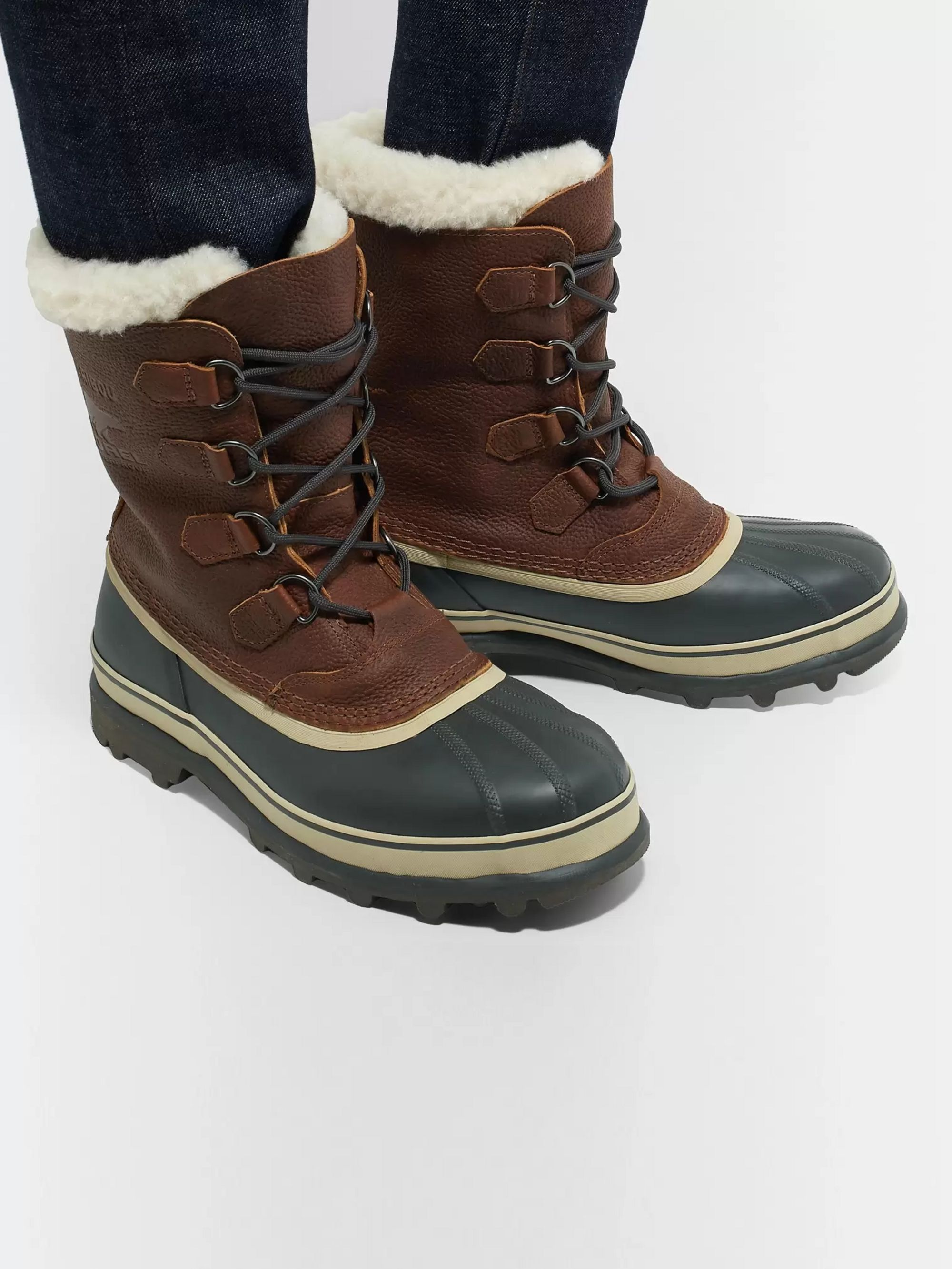 Caribou Faux Shearling Trimmed Waterproof Leather and Rubber Snow Boots
