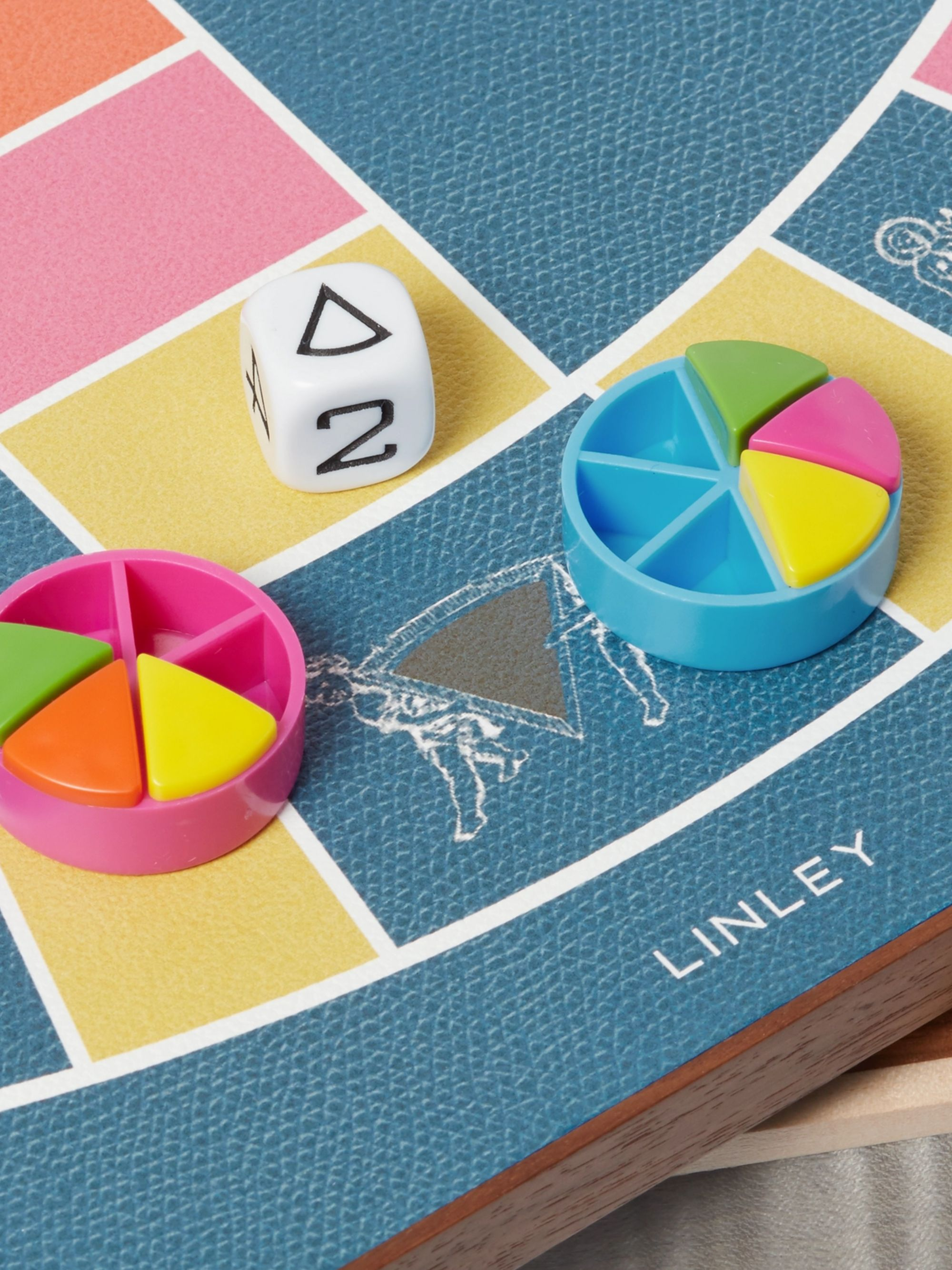 Linley Leather and Wood Stacking Games Compendium - Scrabble and Trivial Pursuit