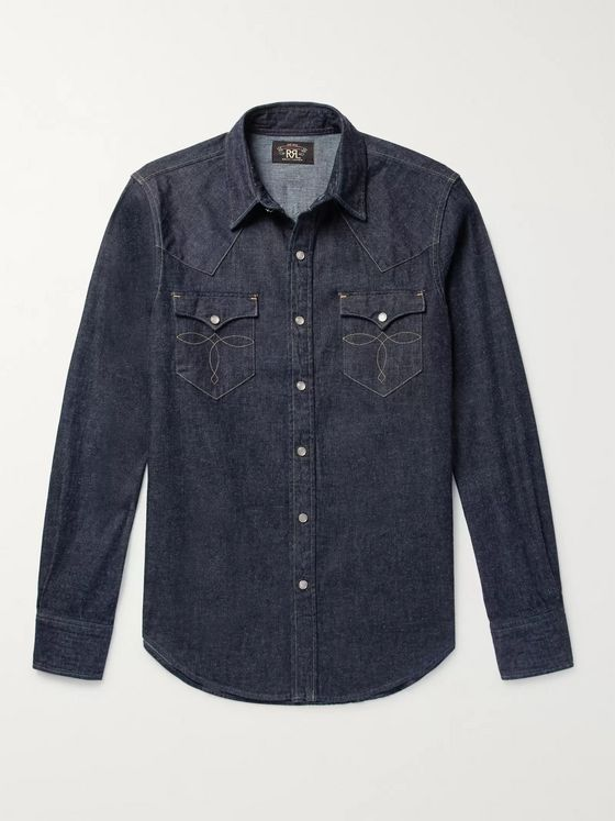 RRL Slim-Fit Denim Western Shirt