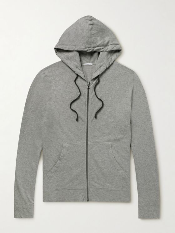 James Perse Loopback Supima Cotton-Jersey Zip-Up Hoodie