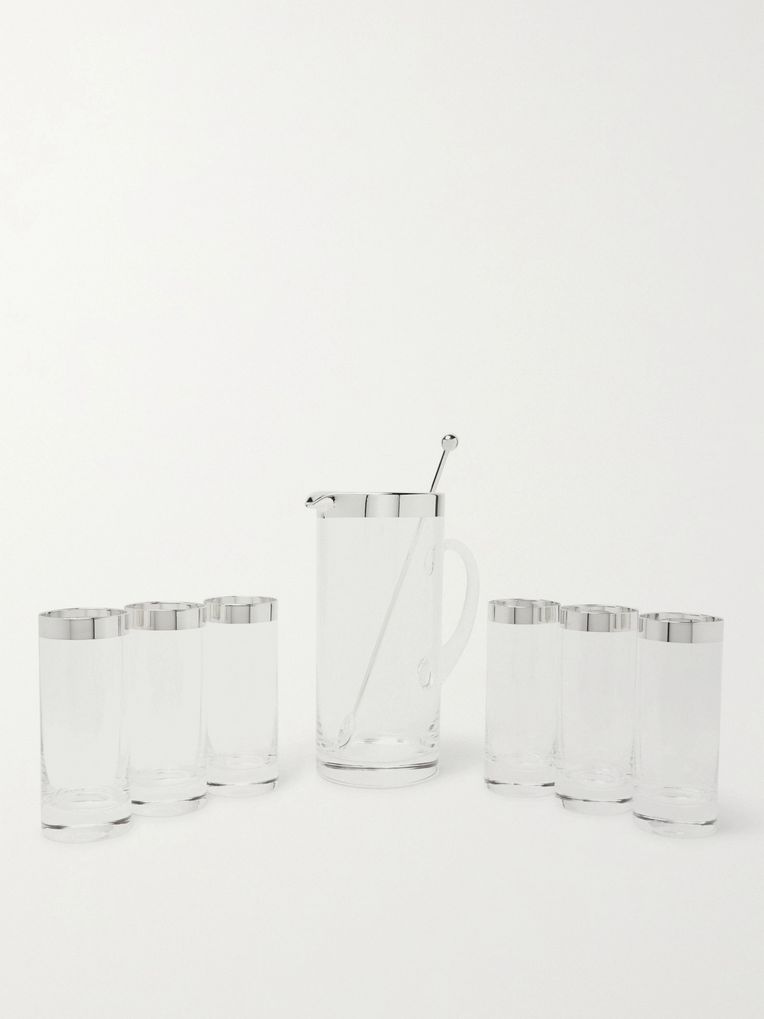Asprey Silver-Trimmed Crystal Jug and Glasses Set with Stirrer