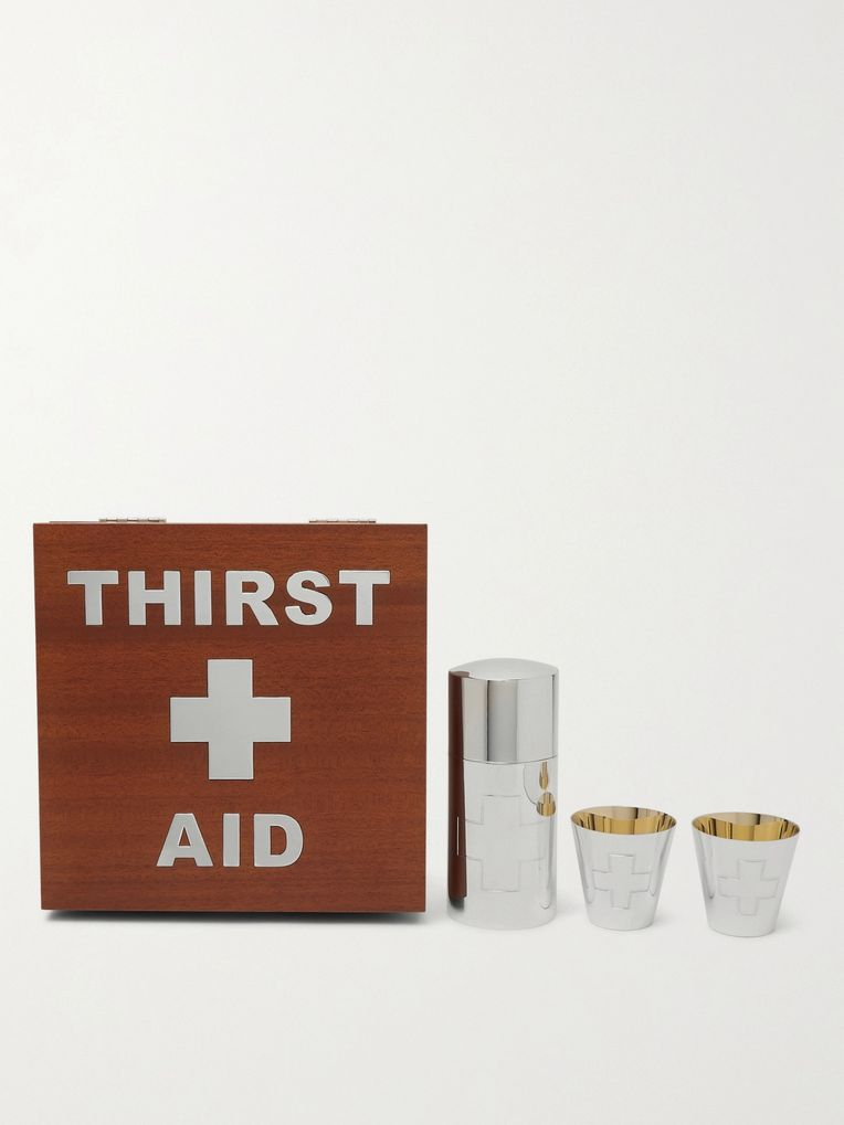 Asprey Thirst Aid Wood Veneer and Sterling Silver Drinks Kit