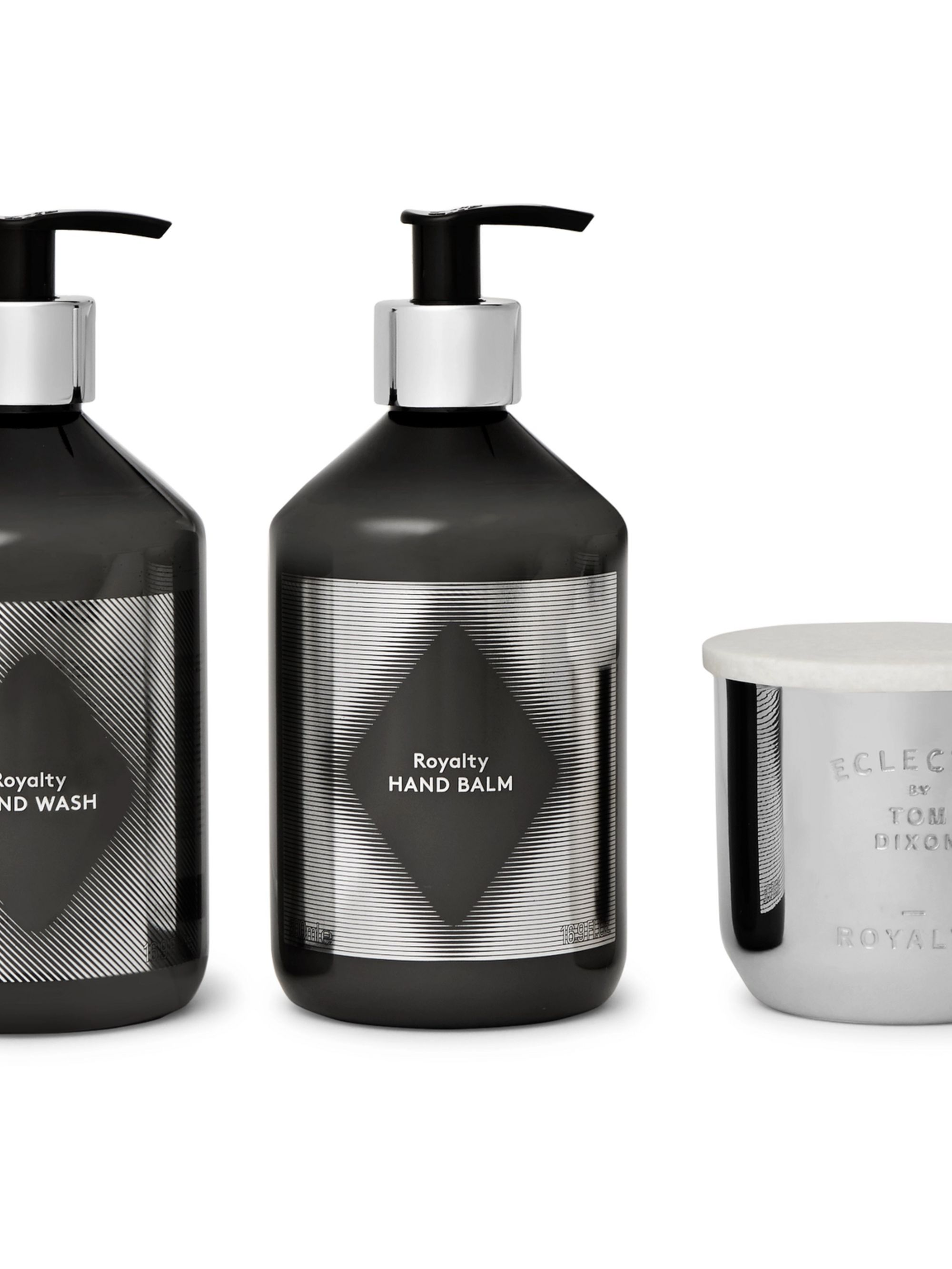 Tom Dixon Royalty Scented Candle, Hand Wash and Hand Balm Set