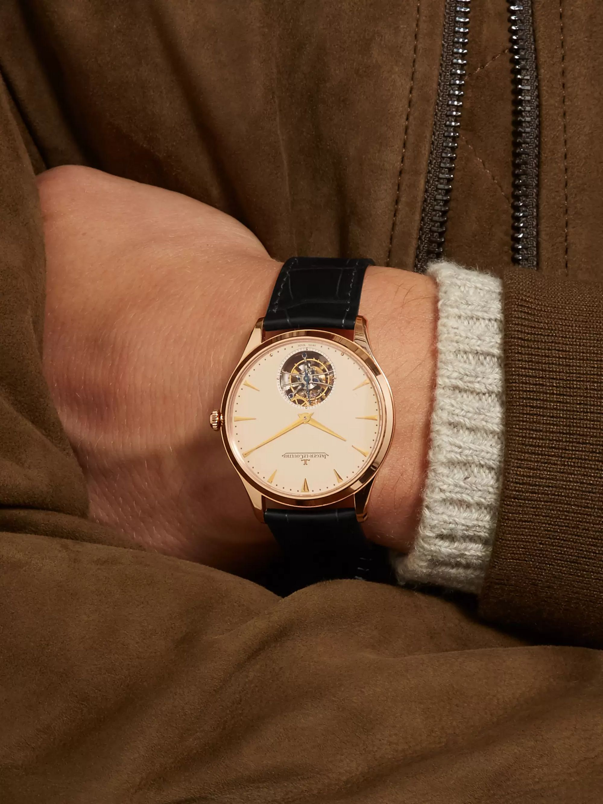 Jaeger-LeCoultre Master Ultra Thin Tourbillon 40mm 18-Karat Rose Gold and Alligator Watch