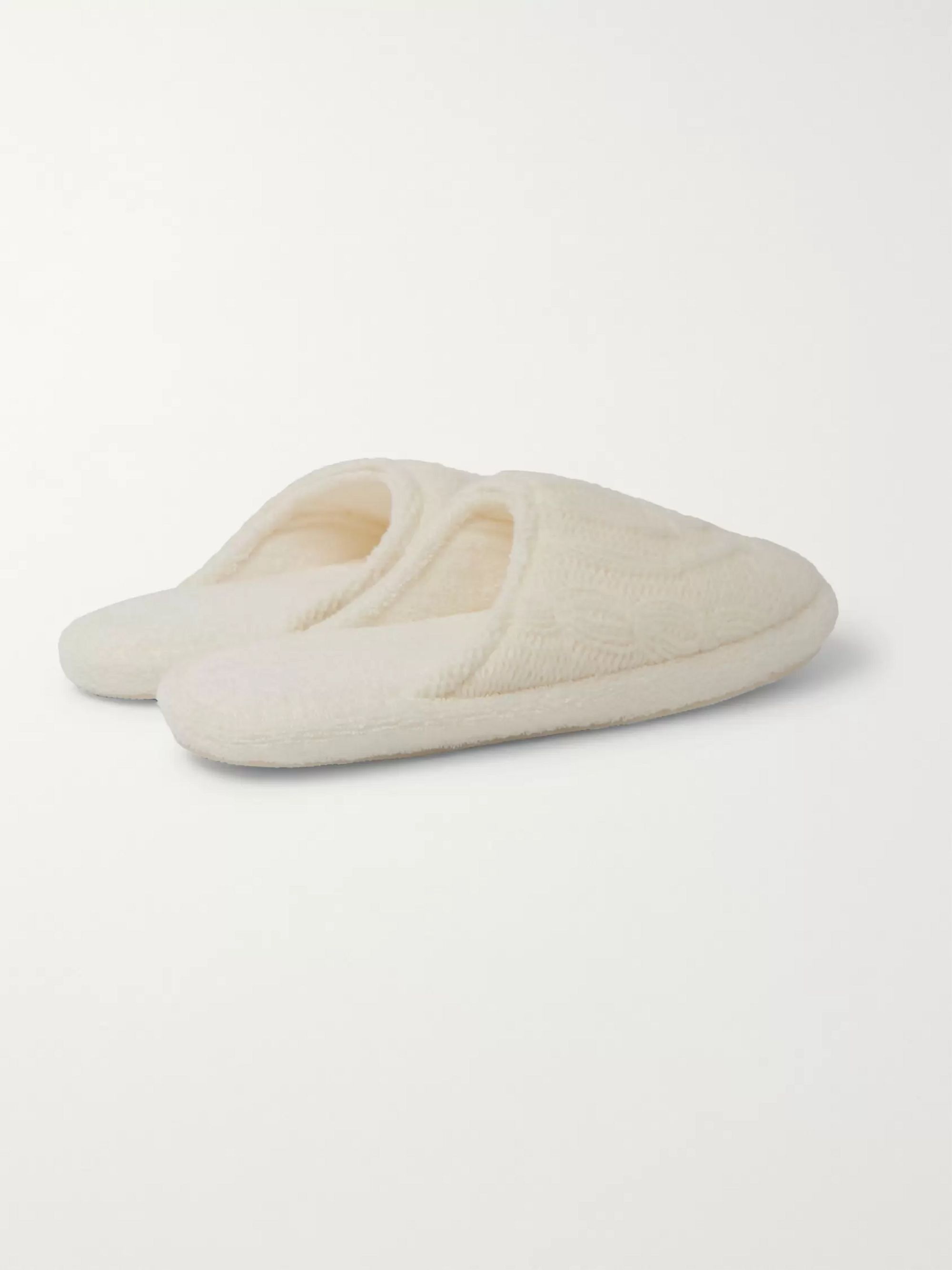Soho Home Harrison Cable-Knit Wool-Blend Slippers