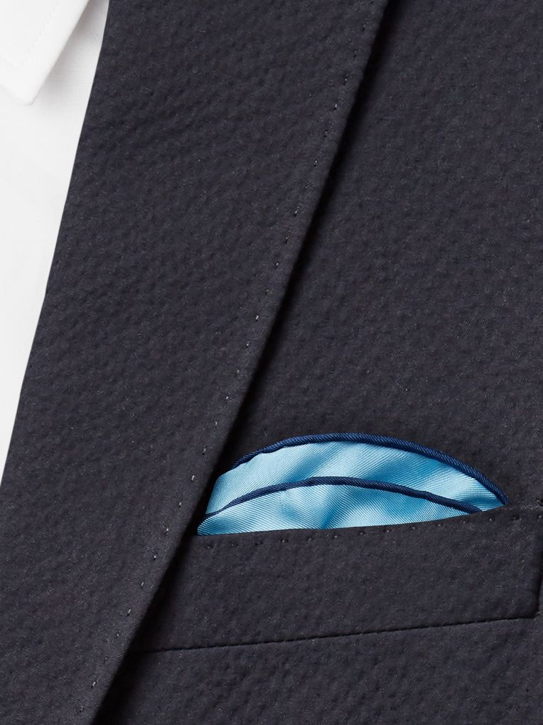 Emma Willis Contrast-Tipped Silk-Twill Pocket Square
